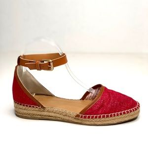 Bass red brown ankle strap espadrilles size 7